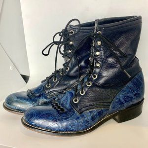 Laredo Black & Blue Leather Kiltie Lace Up Boots